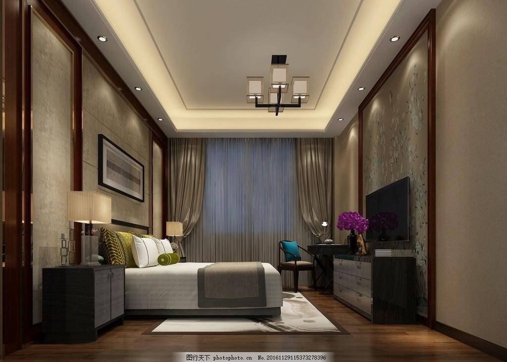 装修效果图 主人房 欧式家具 欧式卧 室效果图 中国味道 环境设计