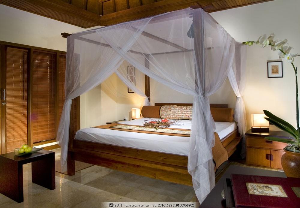 古典时尚卧室效果图图片素材 床头柜 大床 台灯 卧室室内效果图 时尚