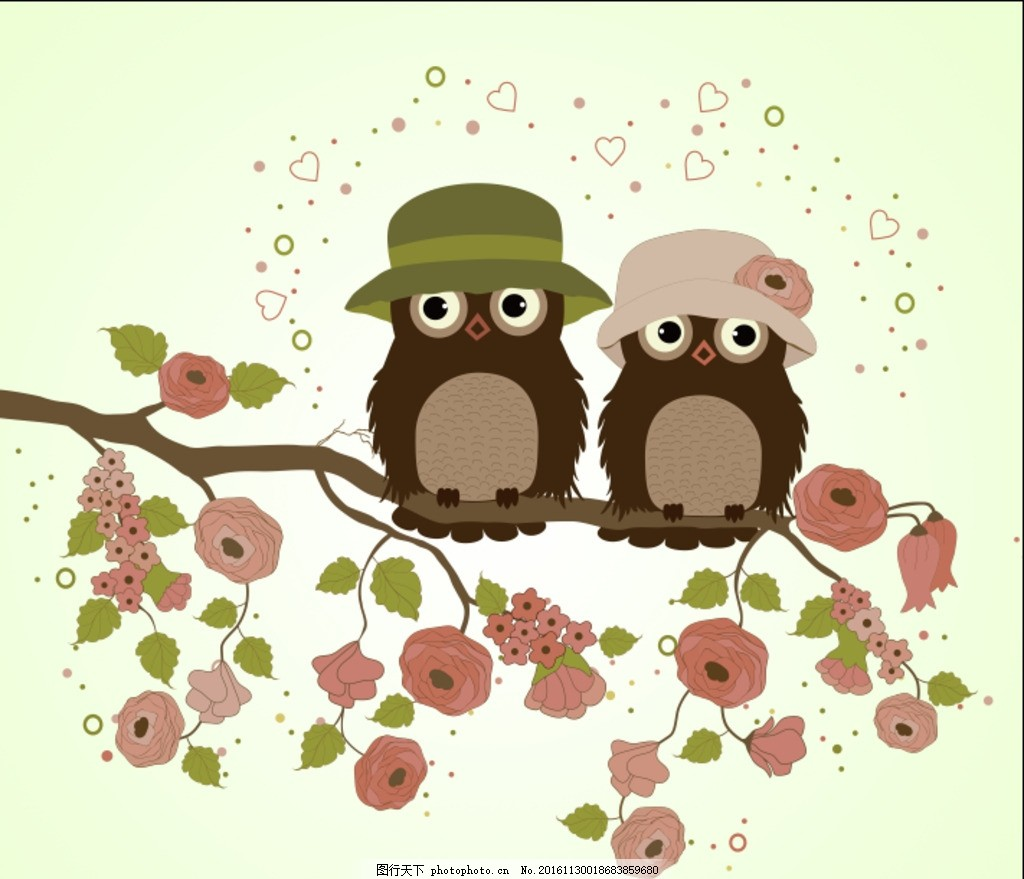 手绘卡通猫头鹰背景 猫头鹰 情侣 手绘 卡通 漫画 树枝 花朵 爱心