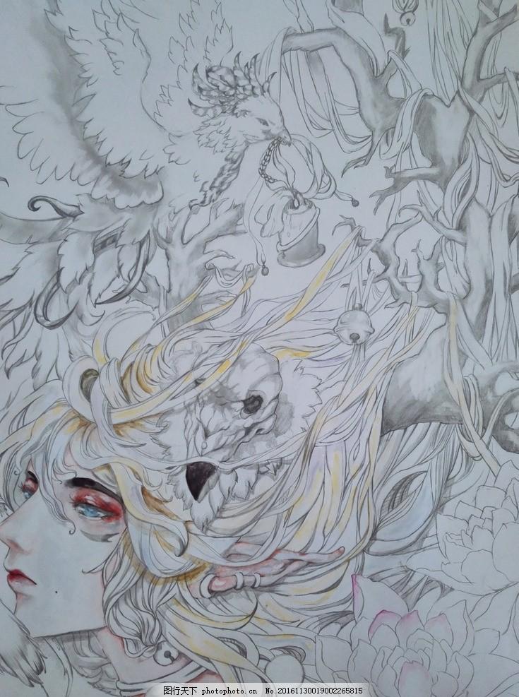 鹿妖 古风 手绘 少女 精灵 素描 手绘 摄影 文化艺术 美术绘画 96dpi