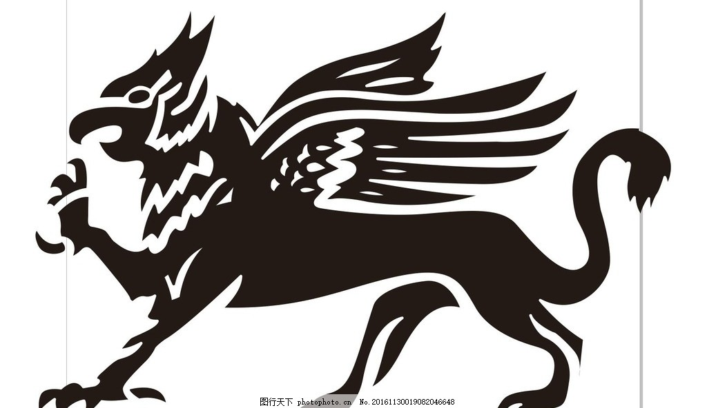 鸟兽 狴犴 动物 野生动物 插画 装饰画 简笔画 线条 线描 简画 黑白画