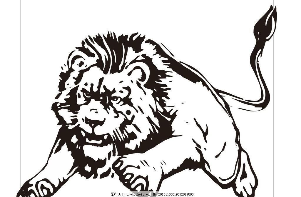 狮子 雄狮 大狮子 素描 动物 野生动物 插画 装饰画 简笔画 线条 线描