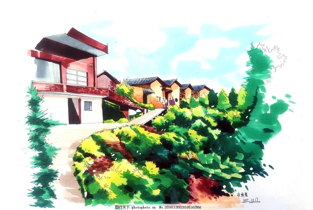 景观马克笔手绘效果图 乡村 农村 景观 马克笔 手绘效果图 田间景观