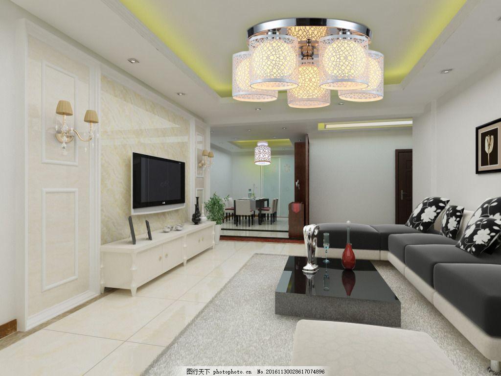 现代客餐厅效果图max源文件下载 创意吊灯 屏风 电视背景墙 过道天花图片