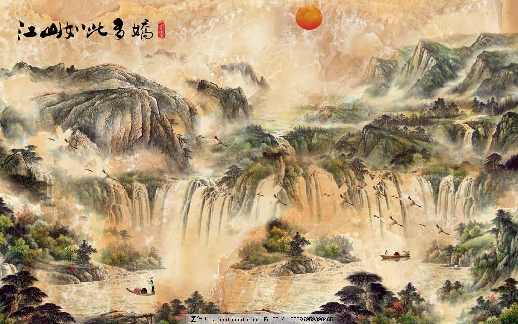 中式山水画背景墙 壁纸 风景 高分辨率图片 高清大图 建筑 装饰图片