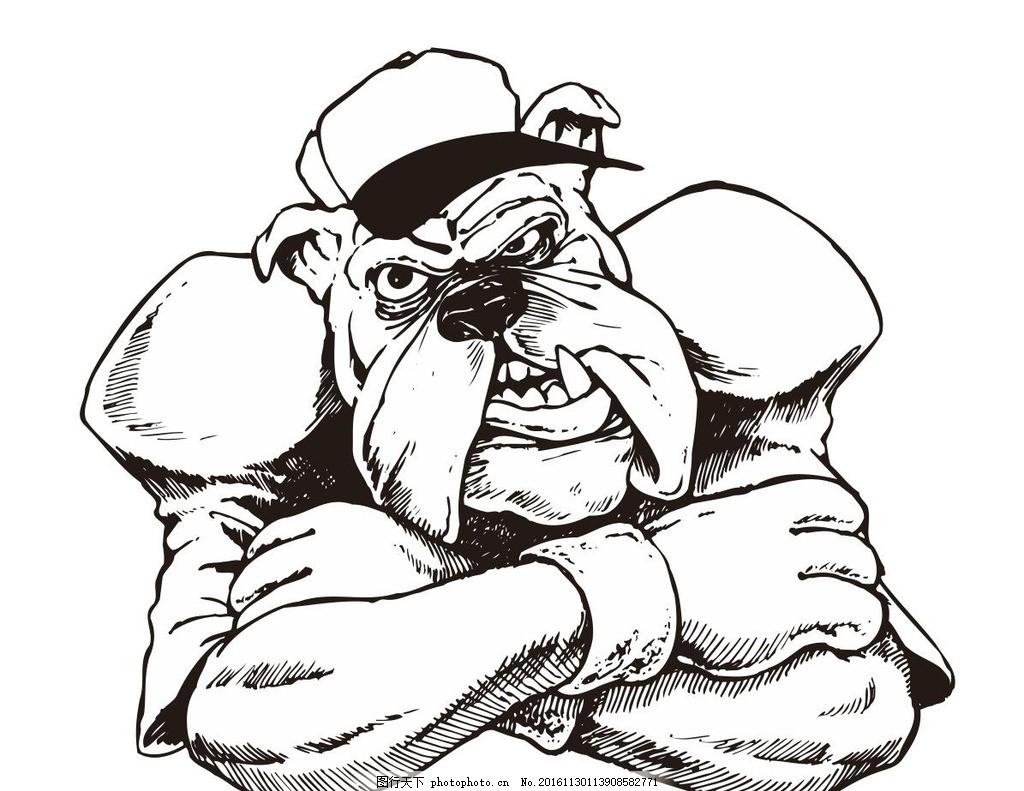 卡通狗 素描 狗狗 公仔 动物 野生动物 插画 装饰画 简笔画 线条 线描