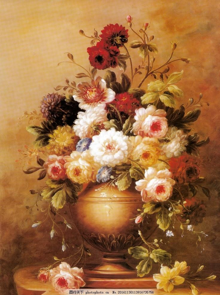 欧式复古牡丹花朵油画 花瓶 绘画 风格 欧洲 文艺复兴 怀旧 文化