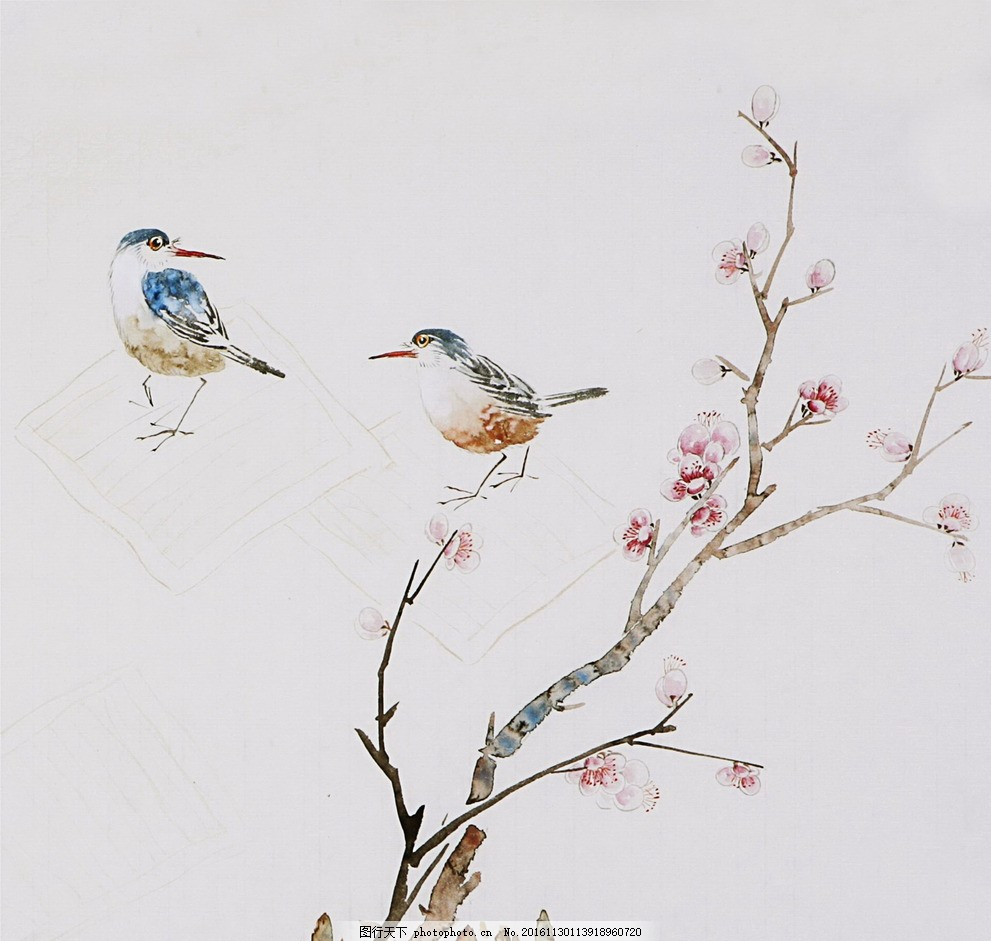 写意画 鸟 花卉 树枝 两只鸟 动物 设计 文化艺术 绘画书法 96dpi jpg