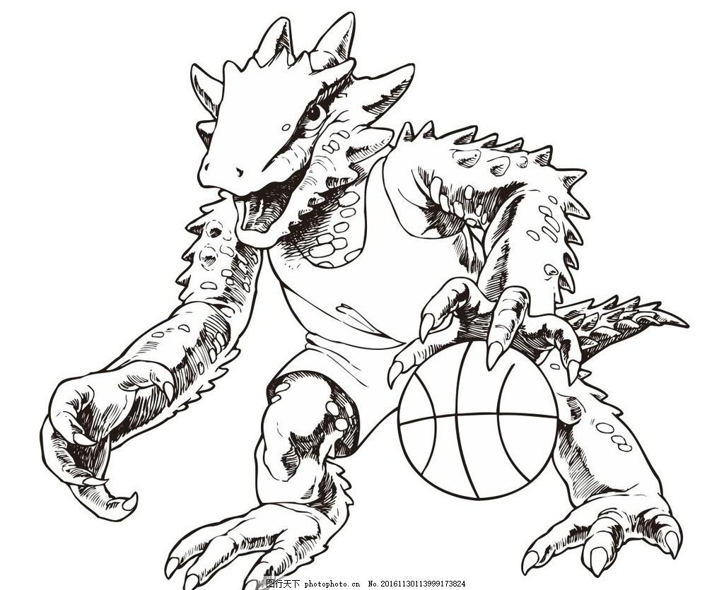 卡通公仔 恐龙 龙 野兽 动物 野生动物 插画 装饰画 简笔画 线条 线描
