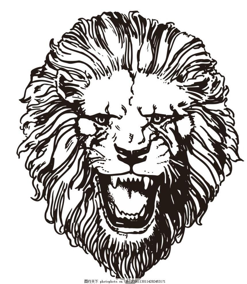 大狮子 动物 野生动物 插画 装饰画 简笔画 线条 线描 简画 黑白画