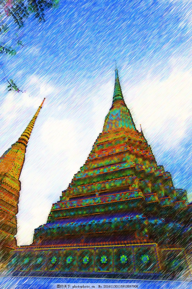 泰国建筑风景油画图片