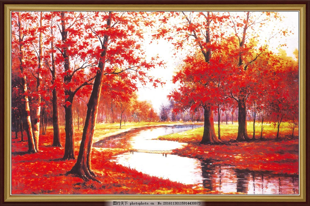 秋天风景中堂画 秋天风景中堂画图片素材 山水风景中堂画 枫叶 枫树