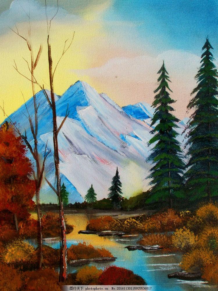 森林里的小溪油画图片