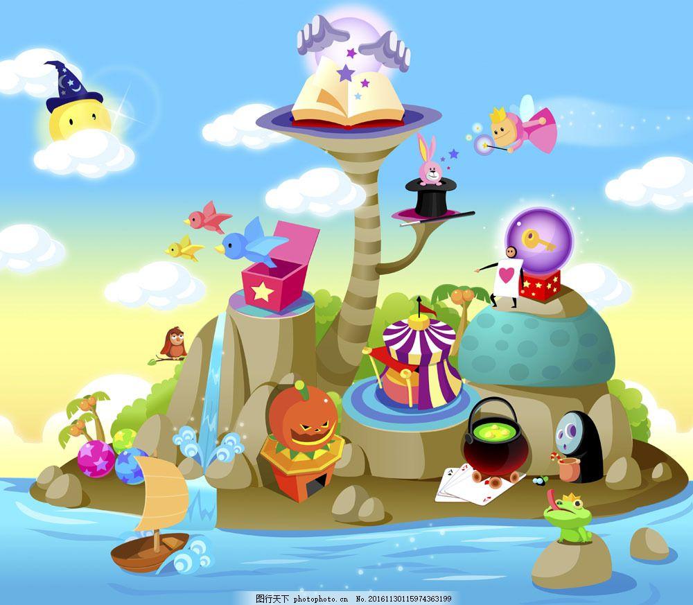 海岛卡通 海岛卡通图片素材 小岛 南瓜灯 书本 椰子树 青蛙 蓝天白云