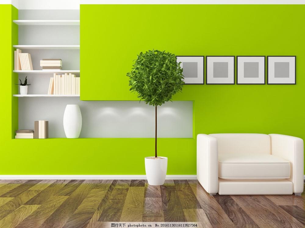 绿色风格装修设计图片素材 沙发 书架 绿色风格客厅装修设计 室内装修