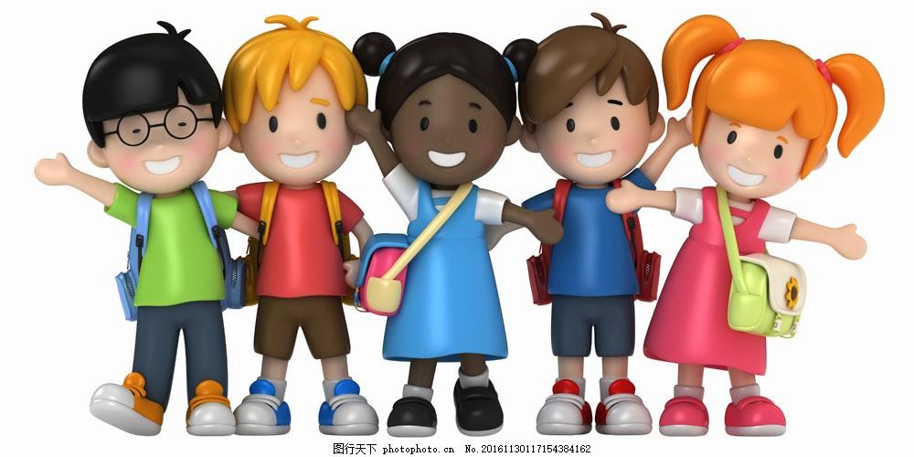 背书包上学的一学生图片素材 学习 教育 男孩 女孩 儿童 学生 卡通