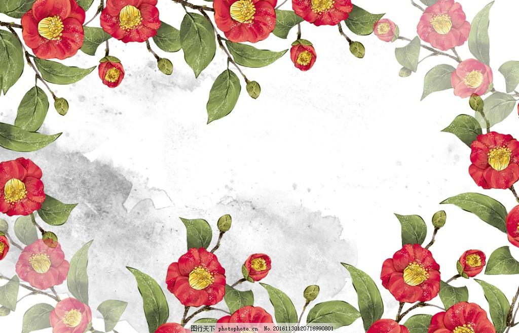 花朵边框素材 边框 纹理 矢量 素材 欧式 花朵 复古 水彩 贺卡 精美