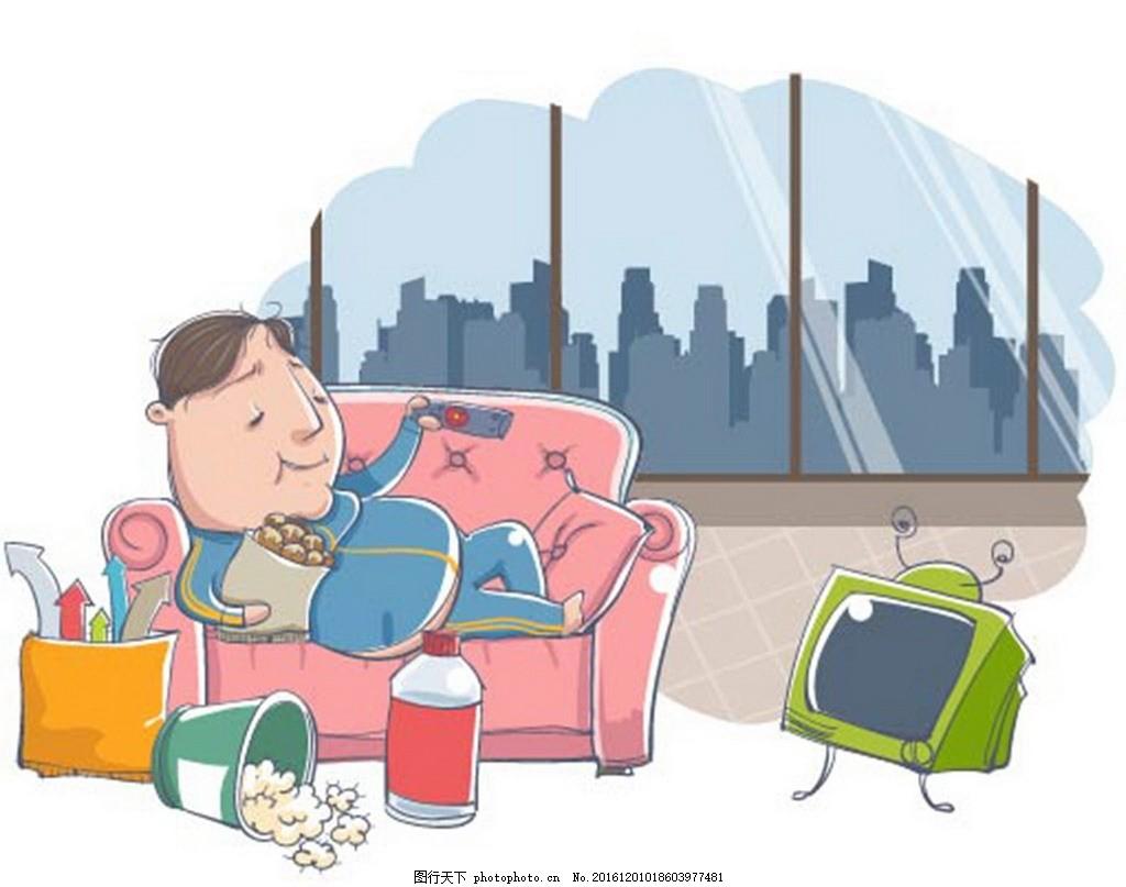 室内人物看电视素材 卡通背景 梦幻背景 矢量文件 儿童卡通 背景底纹