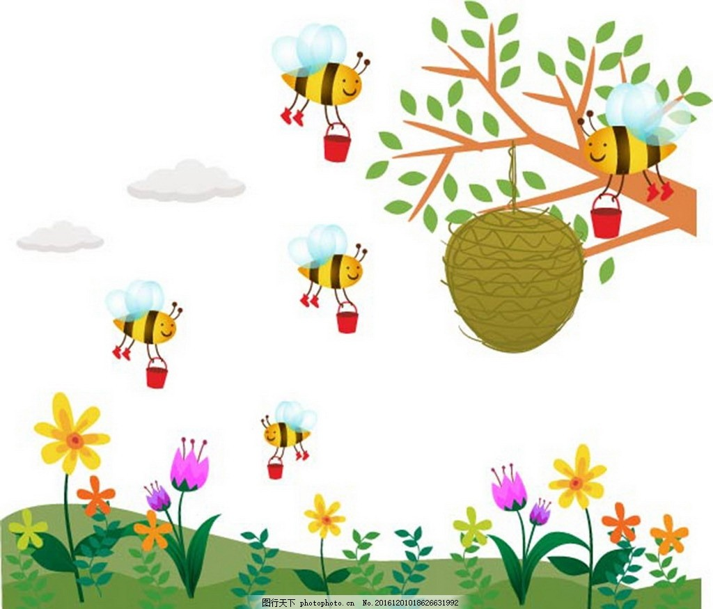 卡通蜜蜂采蜜素材