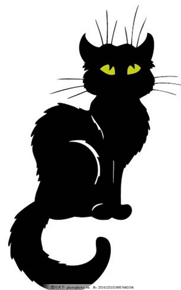 卡通可爱小黑猫素材