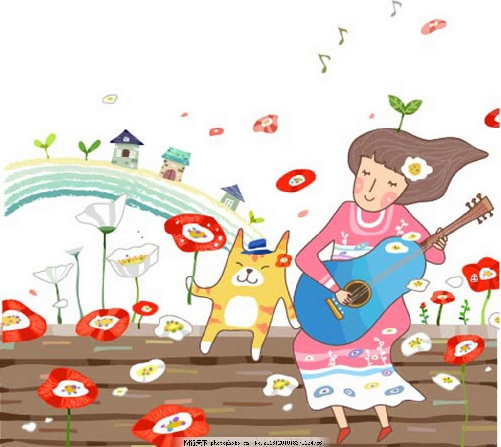 美女弹吉他唱歌素材 卡通背景 梦幻背景 矢量文件 儿童卡通 背景底纹