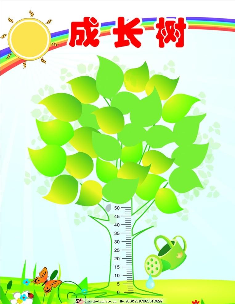 成长树 学校 展板 幼儿园海报 身高尺 卡通 设计 广告设计 展板模板