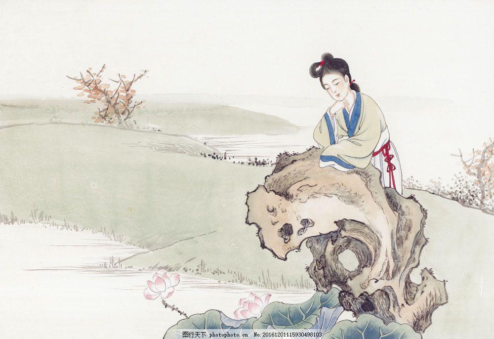 中国画 国画 绘画艺术 传统文化 古典 人物绘画 工笔画 仕女图 山水画