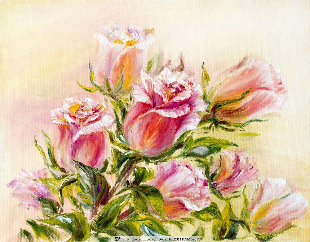 漂亮的玫瑰花油画图片