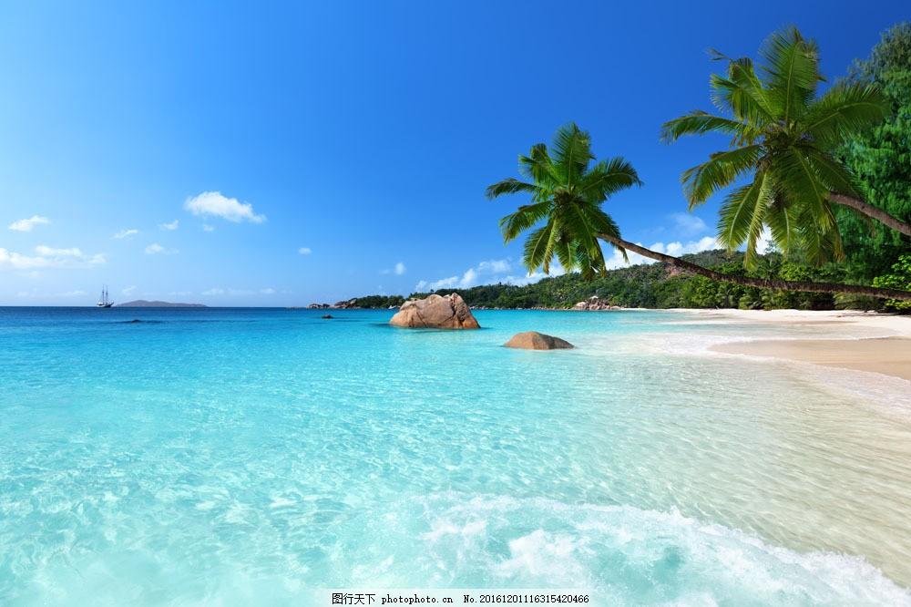 美丽海岛风景图片素材 海滩风景 椰树 沙滩风景 美丽海岸风景 大海
