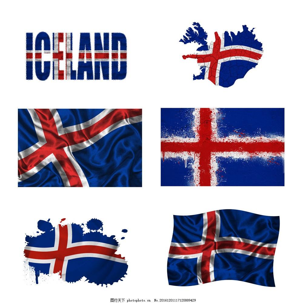 冰岛国旗地图图片