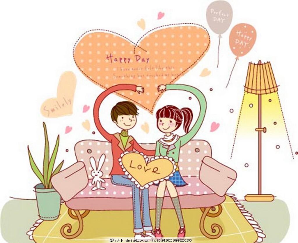 室内甜美情侣人物 卡通背景 梦幻背景 矢量文件 儿童卡通 背景底纹