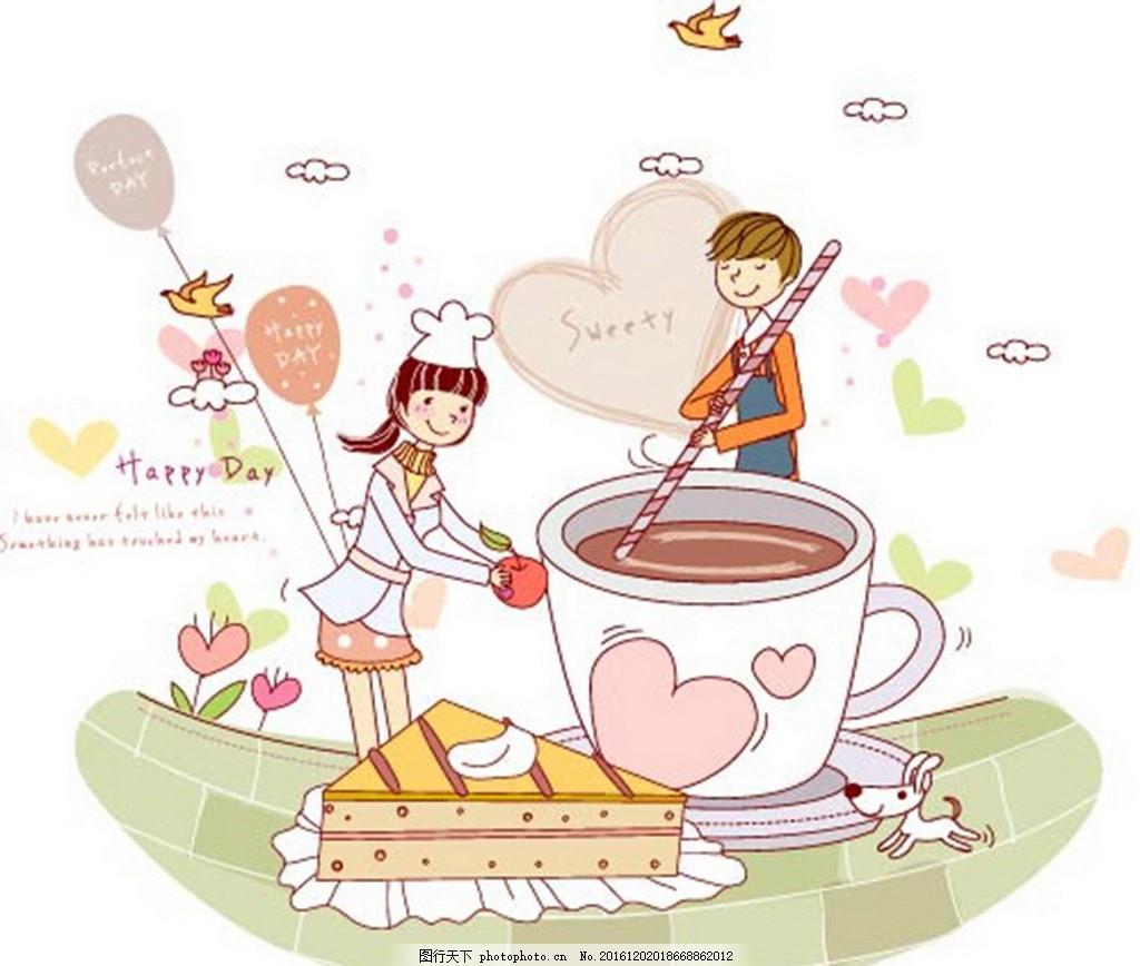 卡通人物 儿童游玩 梦幻风景 小学卡通画 浪漫小清新 设计 动漫动画