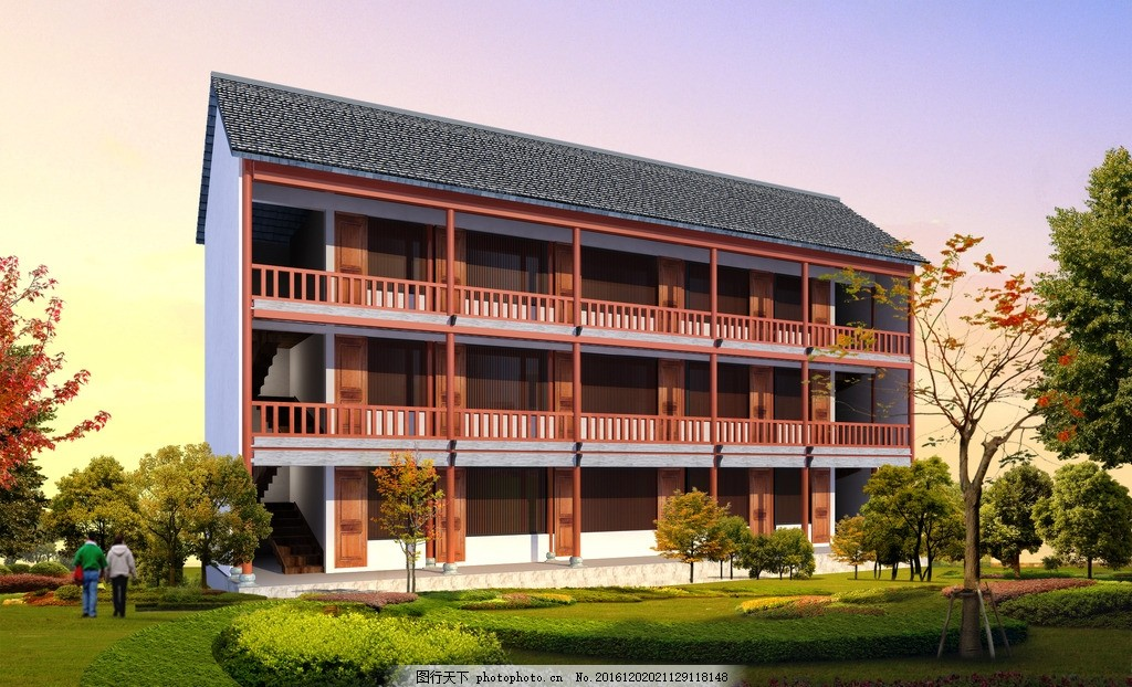 养老院楼效果图 养老院 古建 单体        园林 景观 原创作品 设计 3