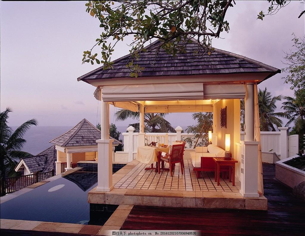 塞舌尔悦榕庄酒店 海滩泳池别墅 泳池别墅 热带雨林 私人泳池 露天