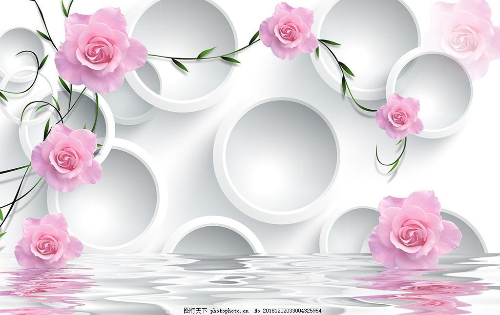 3d玫瑰藤蔓电视背景墙 3d玫瑰花 月季花 蔷薇花 手绘花藤 psd高清分层
