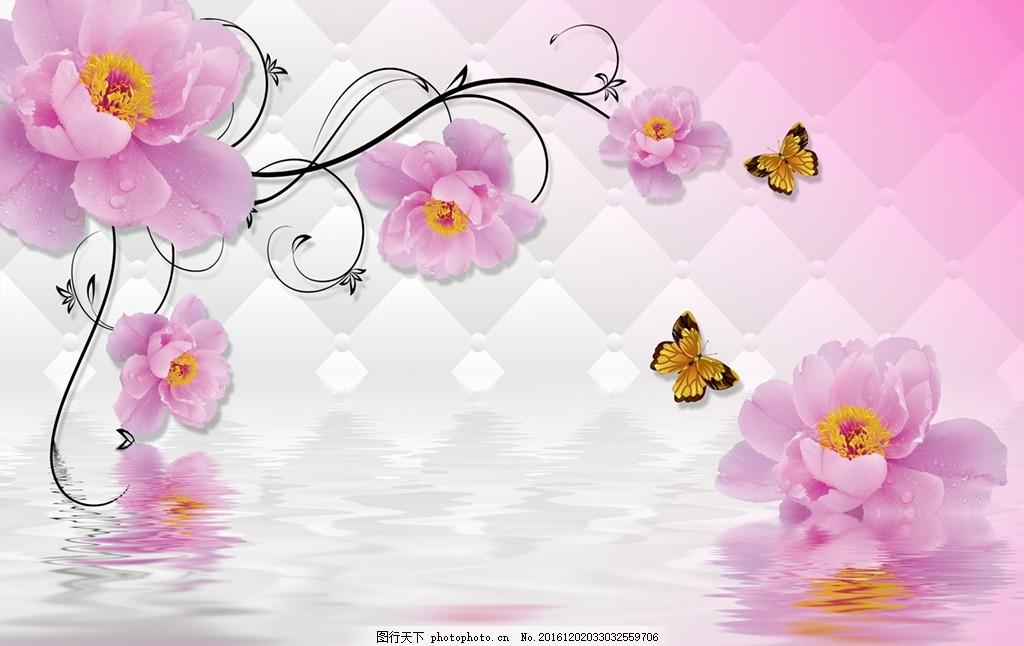 简约梦幻花藤电视背景墙,简约花卉 芍药花开 蔷薇花