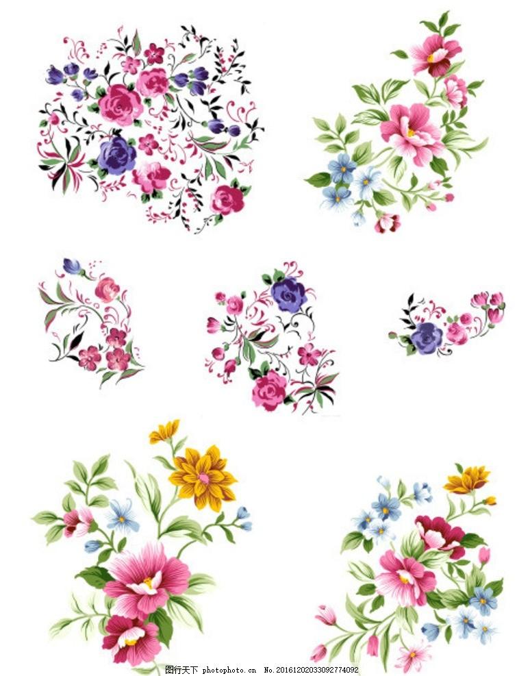 手绘花卉 清新花卉 ps分层 设计素材 花头元素 数码印花 图案 花型