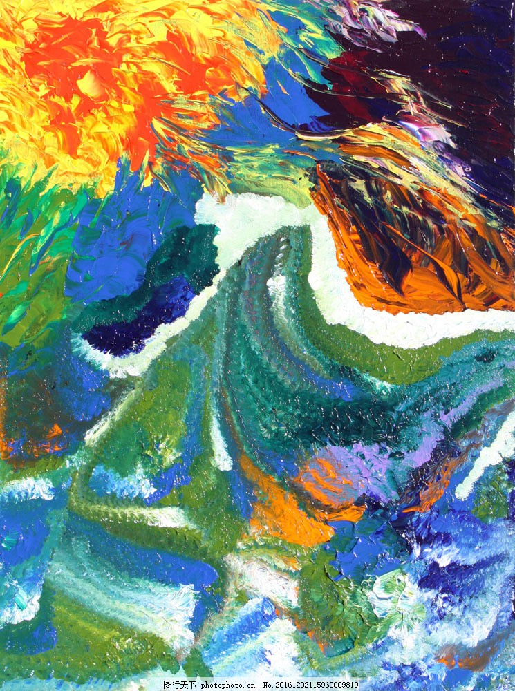 花朵油画笔触图片素材 风景油画写生 抽象画 印象派油画 装饰画 无框