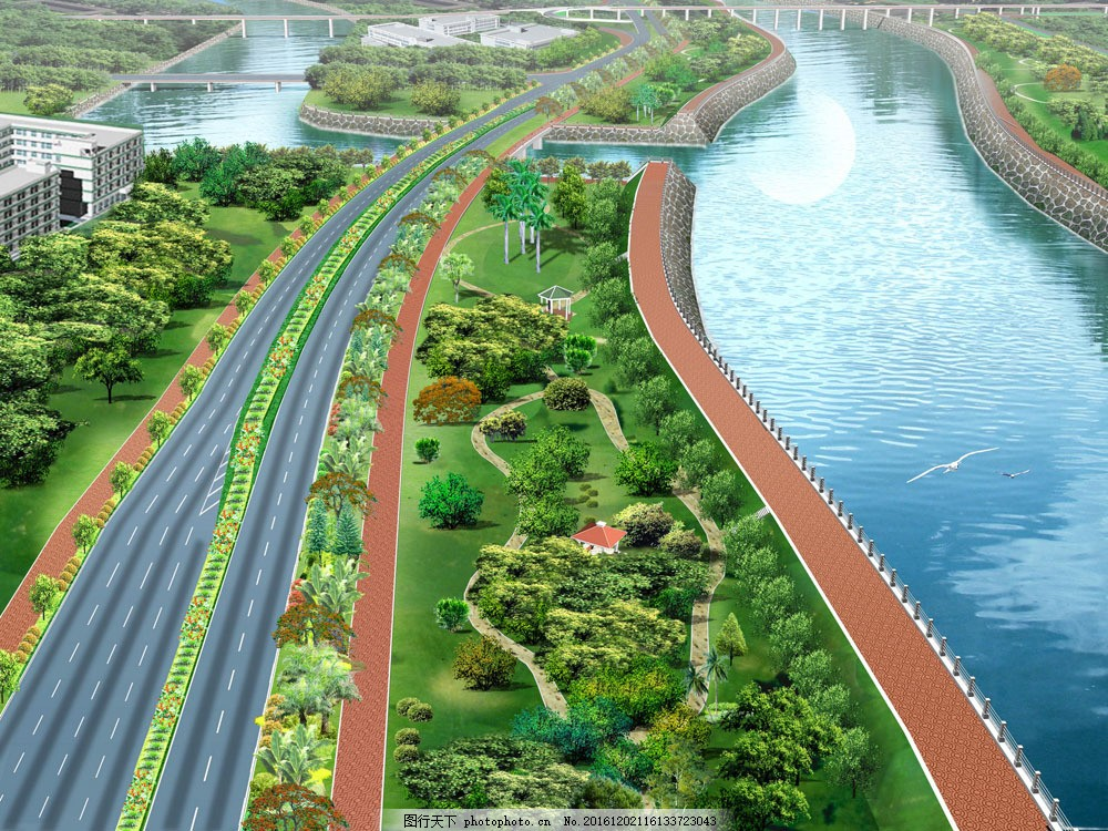 城市马路景观绿化效果图片素材 公路绿化 马路景观 建筑规划设计 景观