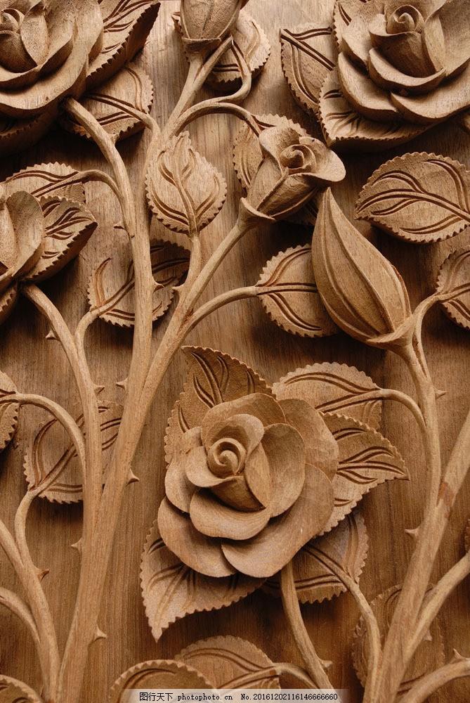 玫瑰花木雕 玫瑰花木雕图片素材 雕花 浮雕 雕刻花纹 建筑设计