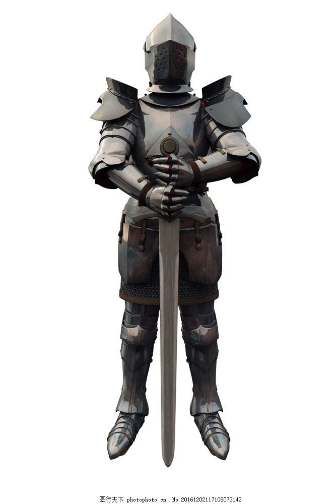 手拿宝剑的武士 手拿宝剑的武士图片素材 盔甲 铠甲 头盔 古代欧洲