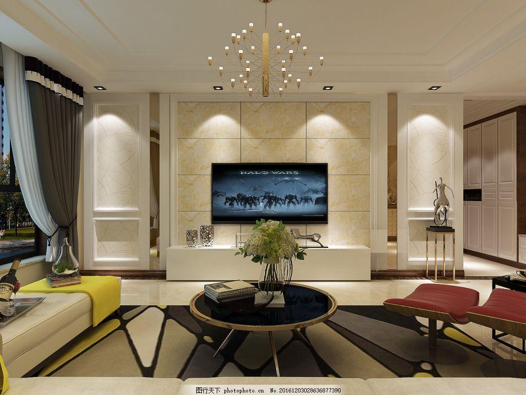 影视墙电视背景墙 新中式风格 现代简约风格 形象墙