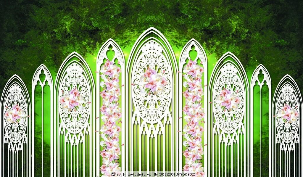 森系婚礼 城堡 花朵 栀子花 婚礼背景 婚庆背景 森系婚庆 森系 婚庆