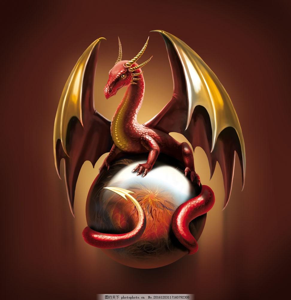 坐在球上的3d翼龙 立体动物 陆地动物 动物世界 卡通动物 其他类别