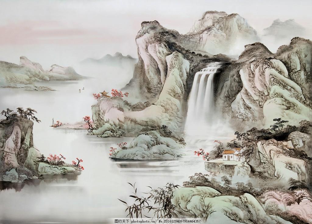 中式山水画装饰背景墙 壁纸 风景 高分辨率图片 高清大图 建筑图片