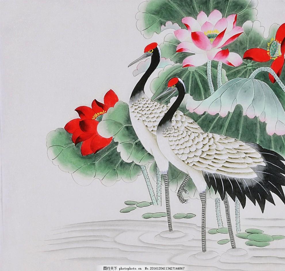 工笔鹤 工笔画 荷花 荷叶 浮萍 动物 文化艺术 绘画书法