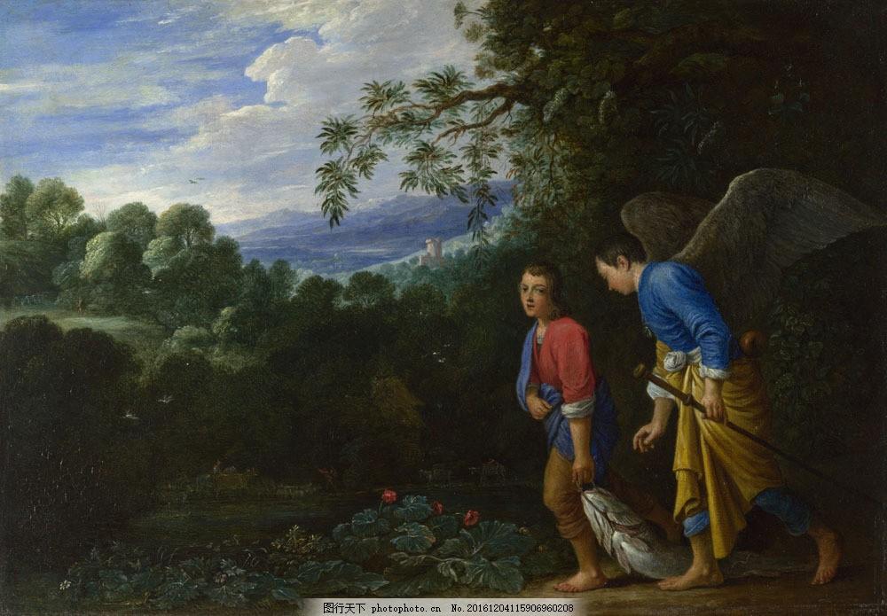 捕鱼的孩子油画写生 捕鱼的孩子油画写生图片素材 国外油画 绘画作品