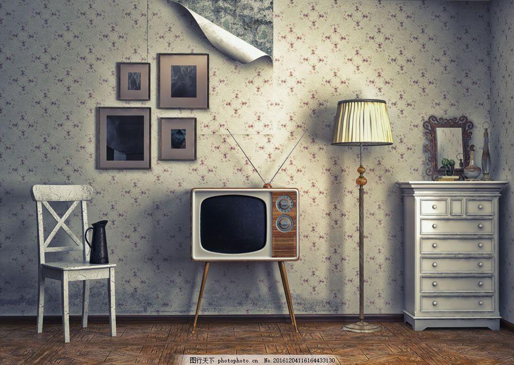 复古客厅设计 复古客厅设计图片素材 电视 椅子 房屋设计 室内设计