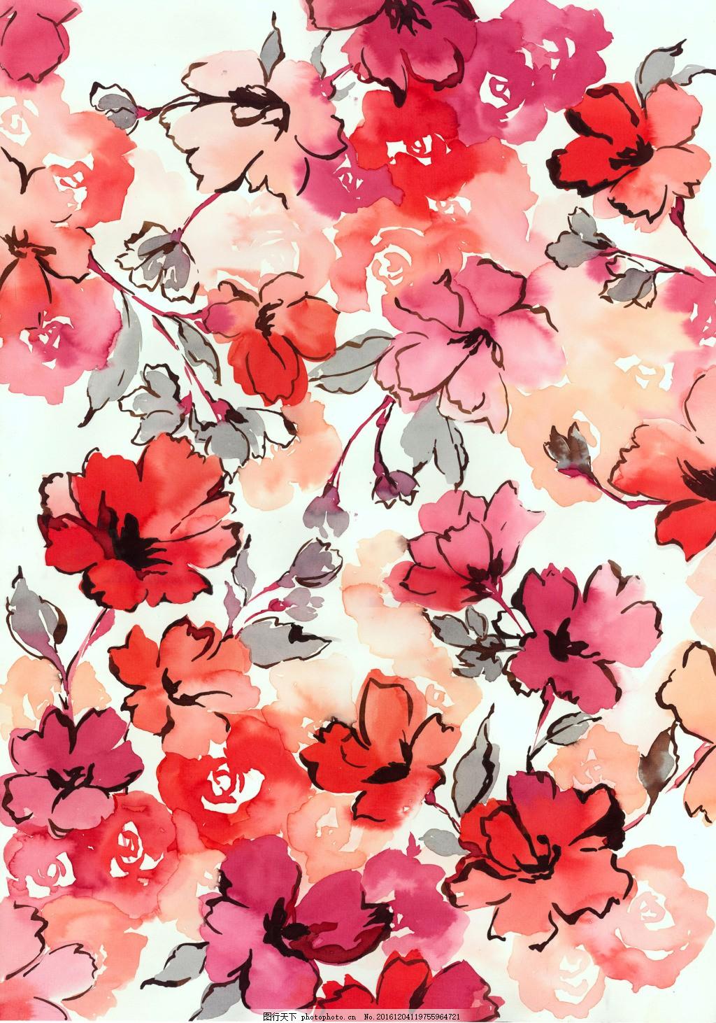 水彩花卉 晕染 手绘 玫瑰