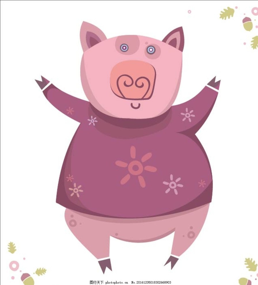 卡通可爱小猪 卡通背景 矢量文件 背景底纹 抽象花纹 生活道具 唯美花